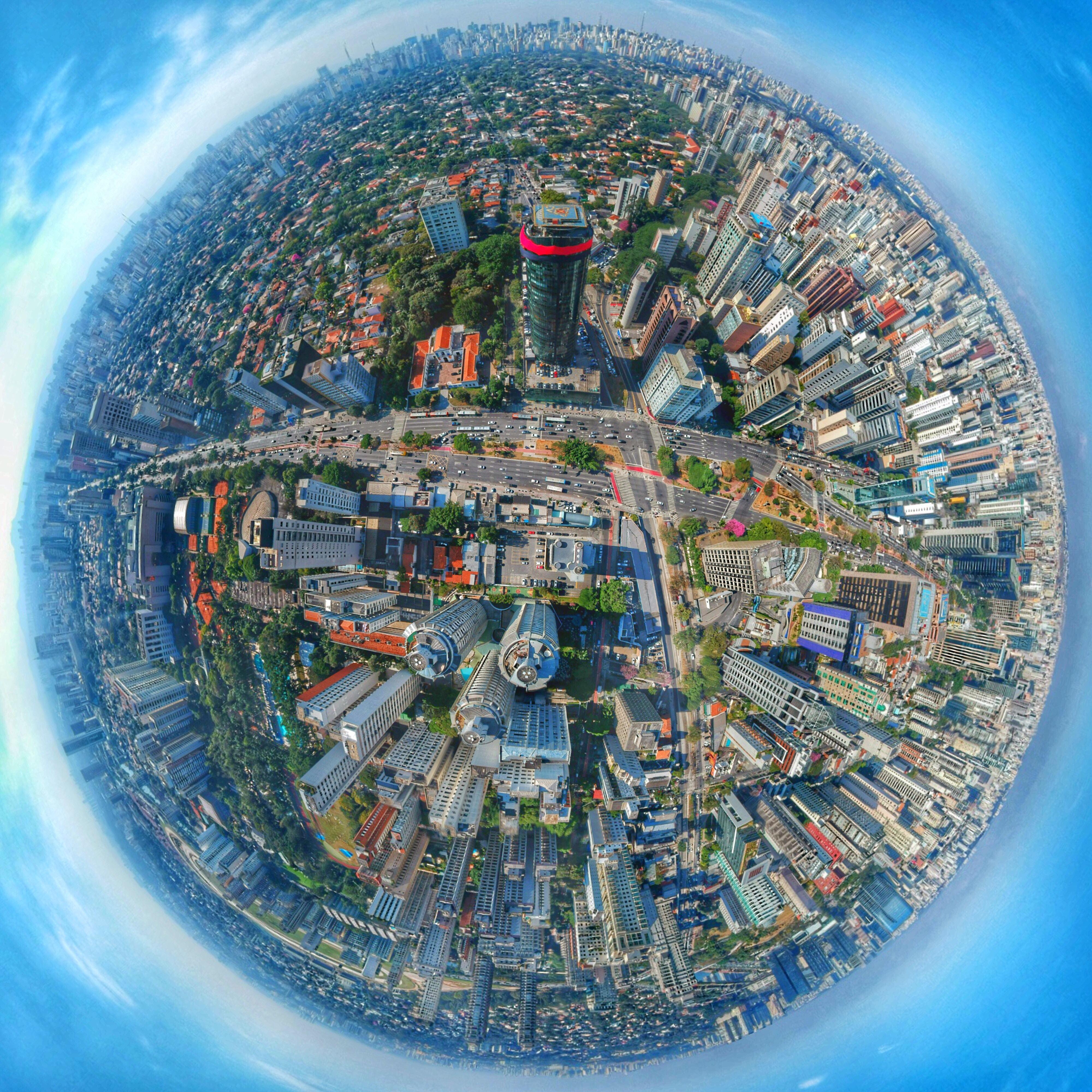city scape globe
