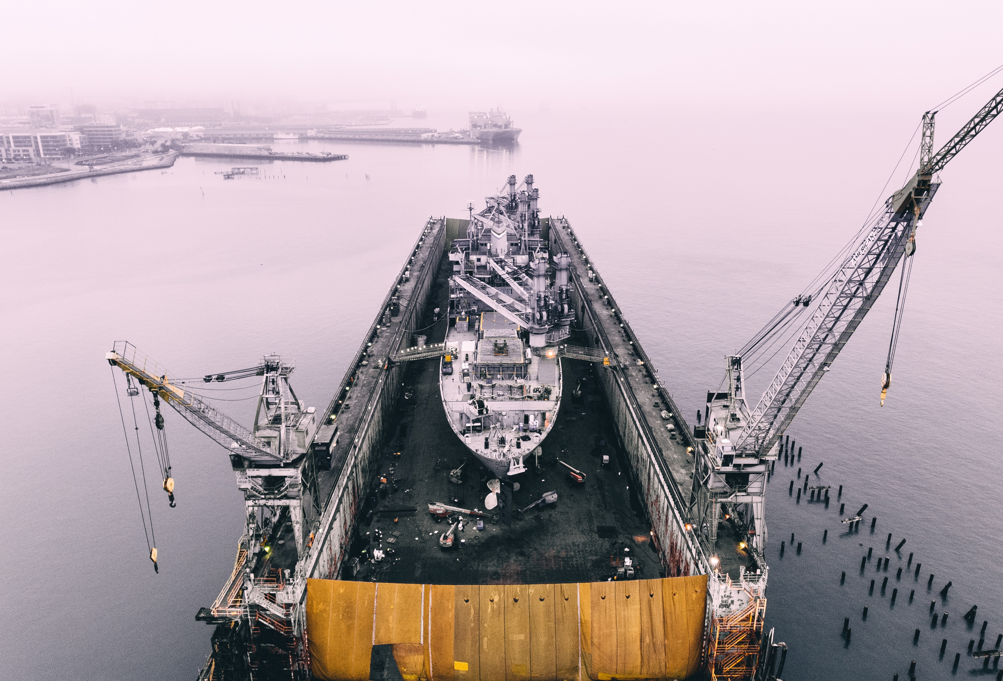 ship on oil rig